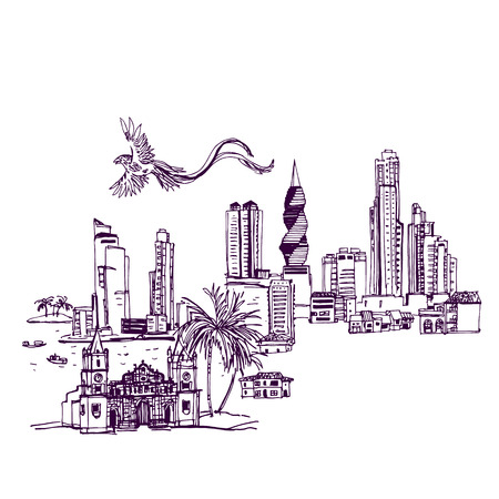 Panama City skyline Places and Architecture around the World  - Collection of hand drawn illustrations Illusztráció