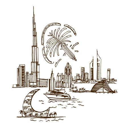 dubai: Dubai City skyline silhouette. Places and Architecture around the World  - Collection of hand drawn illustrations Illustration