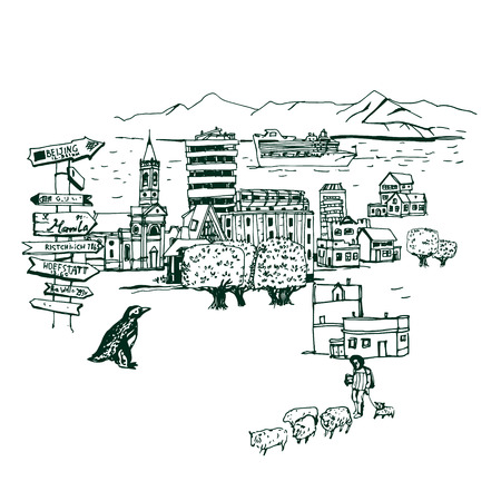 arenas: Chili Punta Arenas Places and Architecture around the World  - Collection of hand drawn illustrations