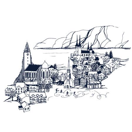 skyline IJsland Reykjavik City. Plaatsen en Architectuur in de wereld - Het verzamelen van de hand getekende illustraties Vector Illustratie