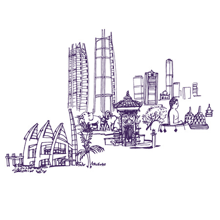 indonesia: Jakarta skyline, Places and Architecture around the World  - Collection of hand drawn illustrations.