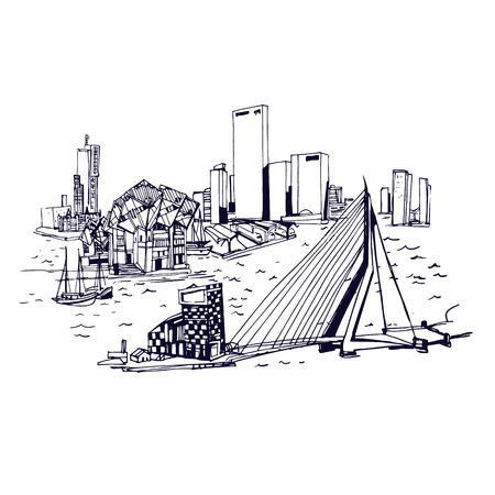 rotterdam: Rotterdam skyline . Places and Architecture around the World  - Collection of hand drawn illustrations