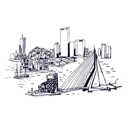 Skyline van Rotterdam. Plaatsen en Architectuur in de wereld - Het verzamelen van de hand getekende illustraties