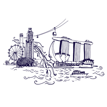 bay: Singapore city skyline at Marina Bay vector illustration Places and Architecture around the World  - Collection of hand drawn illustrations