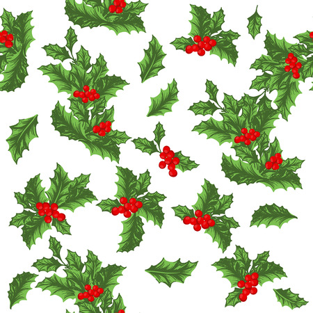 holly day: Christmas vector seamless pattern with holly berries