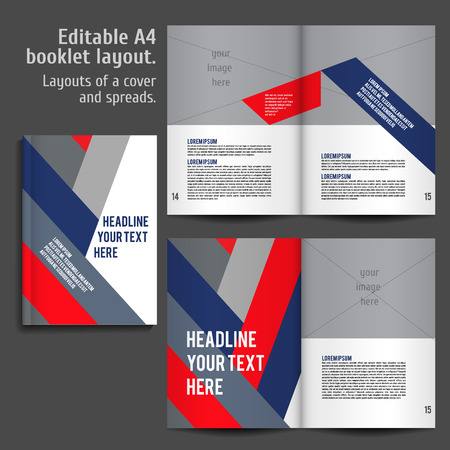 A4 book   geometric abstract Layout Design Template with Cover and 2 spreads of Contents Preview. For design magazines, books, annual reports. Illustration