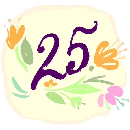 age 25 30 years: Anniversary 25th signs  in calligraphy  style. Template of anniversary, birthday and jubilee emblems  with number.