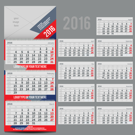 includes: calendar 2016 - Planner for three month includes space