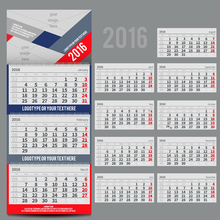 three month: calendar 2016 - Planner for three month includes space