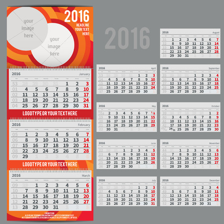scheduler: calendar 2016 - Planner for three month includes space