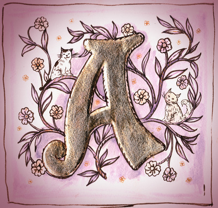 joking: Old  decorative medieval style joking image of  letter A and leaves with two cats. Hand drawn and gold covering