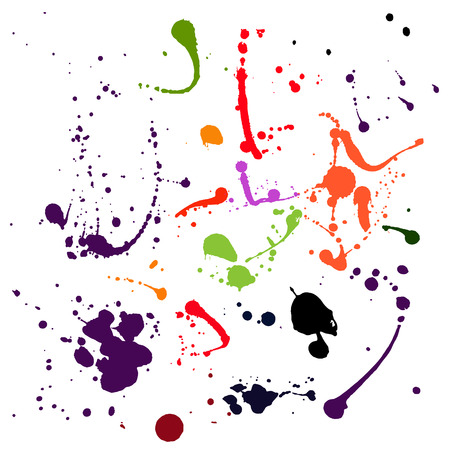 Set of difrent colours blots and ink splashes Each blot is grouped separately, there are 17 different splashes.
