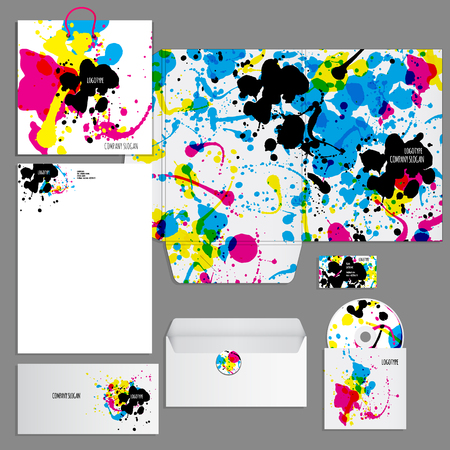 identity card: Corporate identity template. Vector company style for brandbook and guideline.  Artistic design with colorful blots can be used for art companies, creative people or other variants of your design