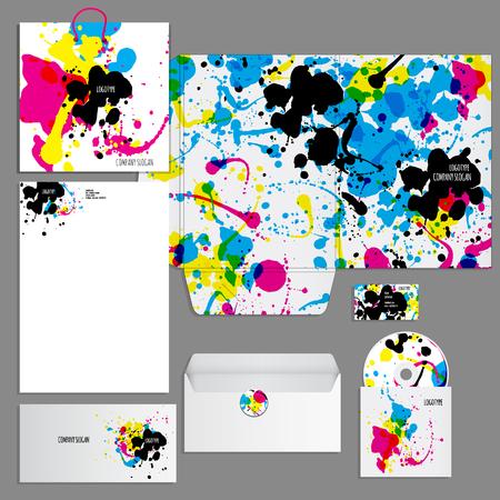 personalausweis: Corporate-Identity-Vorlage. Vector Firma Stil für Brandbook und Leitlinie. Künstlerische Gestaltung mit bunten Flecken können für Kunst Unternehmen, kreative Menschen oder andere Varianten des Designs verwendet werden Illustration