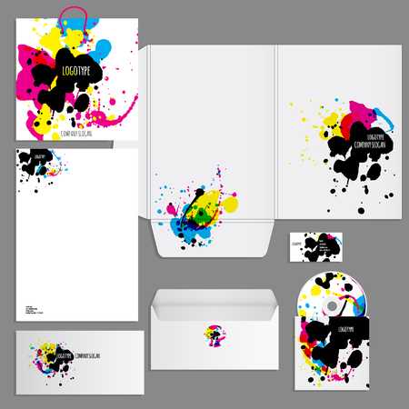 be the identity: Corporate identity template. Vector company style for brandbook and guideline.  Artistic design with colorful blots can be used for art companies, creative people or other variants of your design