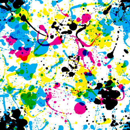 splats: Seamless colorful ink color splats pattern in cmyk colours