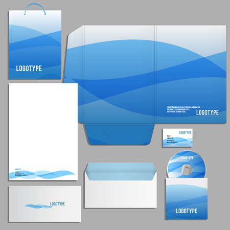 guideline: Corporate identity template. decorated with waves Vector company style for brandbook and guideline. Illustration