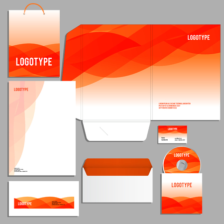 guideline: Corporate identity template with waves Vector logo company style for brandbook and guideline.
