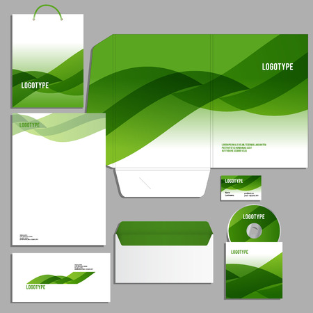 brand identity: Corporate identity template with green waves Vector logo company style for brandbook and guideline.