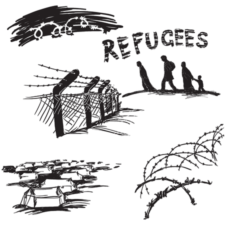conflicto: Alambre de púas sobre fondo blanco, silueta de los migrantes de la familia y de palabras rrefugees en estilo scetch