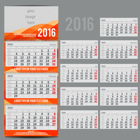 scheduler: Vector calendar 2016 - Planner for three month includes space for yur photo and text. with waves orange