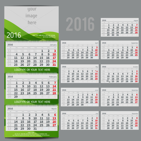 agenda: Vector calendar 2016 - Planner for three month includes space for photo and text in ECO style Illustration