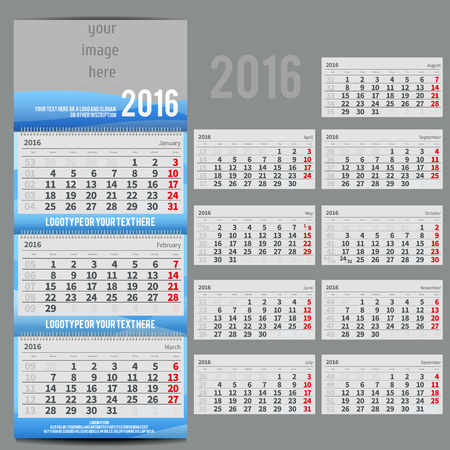 scheduler: Vector calendar 2016 - Planner for three month includes space for photo and text