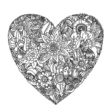 heartshaped: heart-shaped pattern for coloring book. Floral, retro, doodle, vector,  design element. Black and white  background.