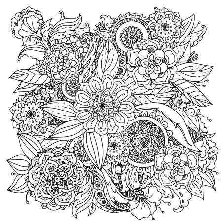 henna design: Floral pattern for coloring book. Retro, doodle, vector,  design element. Black and white  background. zentangle