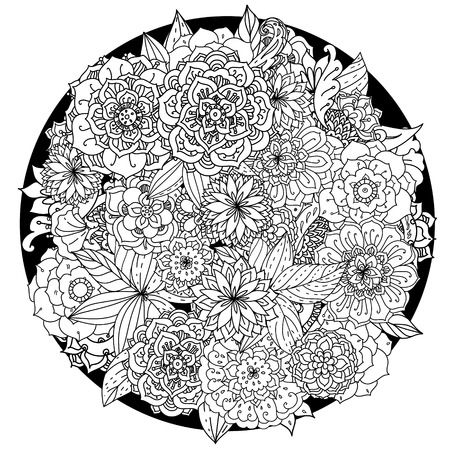Circle floral ornament. Hand drawn art mandala.  Black and white background. Zentangle patters.
