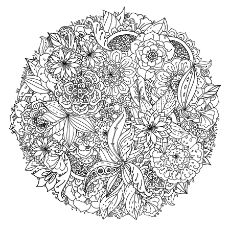 Circle Floral pattern for coloring book. Retro, doodle, vector,  design element. Black and white  background. zentangle
