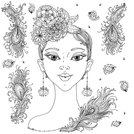 hair feathers: Beautiful fashion orientdl women with abstract hair and floral design elements of Peacock feathers, could be used  for coloring book.  Black and white in zentangle style.