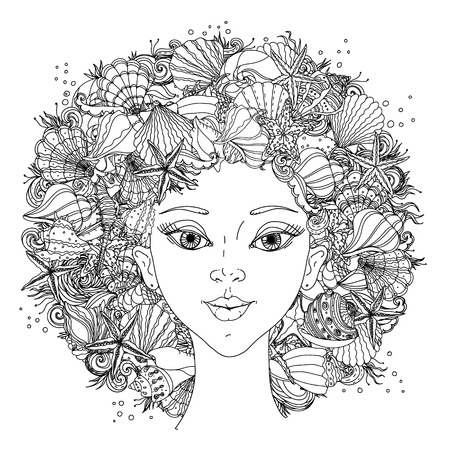 Beautiful fashion orientdl women with abstract hair and  design elements of seashells, starfish, seaweed, could be used  for coloring book.  Black and white in zentangle style.