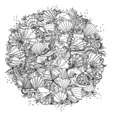 Circle black and white  ornament of seashells, starfish, seaweed, could be use  for coloring book  in zentangle style.