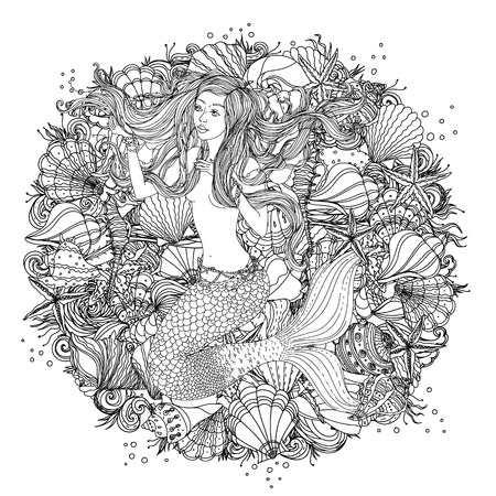 Mooie mode vrouw met abstracte haar en design-elementen van schelpen, zeesterren, zeewier in het beeld van een zeemeermin, kan worden gebruikt voor kleurboek. Zwart en wit in zentanglestijl.
