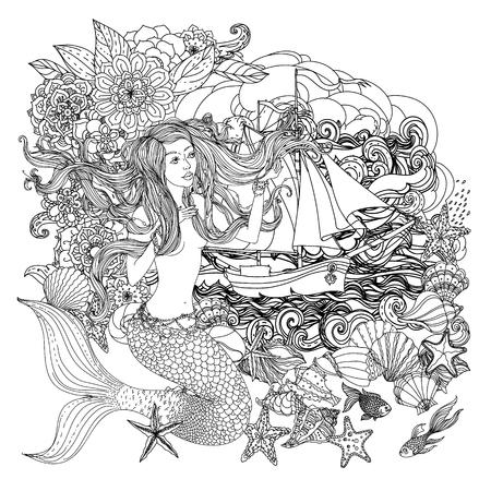 Mooie mode vrouw met abstracte haar en design-elementen van schelpen, zeesterren, zeewier en bloemen in het beeld van een zeemeermin en zeilboot op de achtergrond van wolken en golven, kan worden gebruikt voor kleurboek. Zwart en wit in zentangle varkenskot