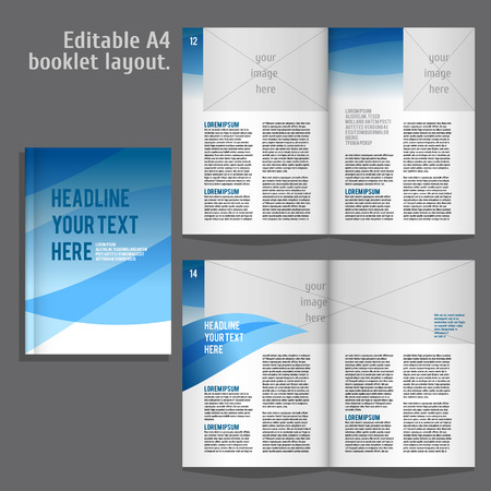 contents: A4 book   geometric abstract Layout Design Template with Cover and 2 spreads of Contents Preview. For design magazines, books, annual reports. Illustration