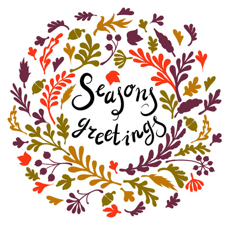 Vignette of colourfull leaves, ncludes text Seasons greetings Vector illustration