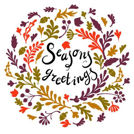 seasons greetings: Vignette of colourfull leaves, ncludes text Seasons greetings Vector illustration