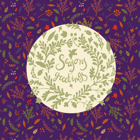 seasons greetings: greeting card with vignette of colourful leaves, ncludes text Seasons greetings Vector illustration Vettoriali