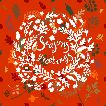colourfull: Vignette of colourfull leaves, ncludes text Seasons greetings Vector illustration
