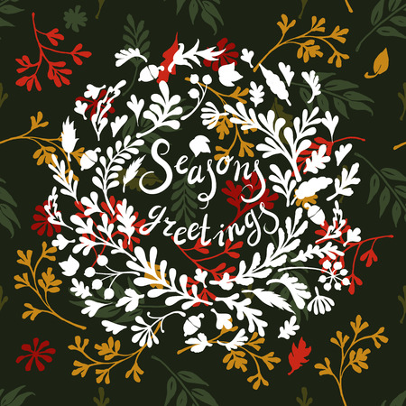 seasons greetings: Vignette of colourful leaves, ncludes text Seasons greetings Vector illustration