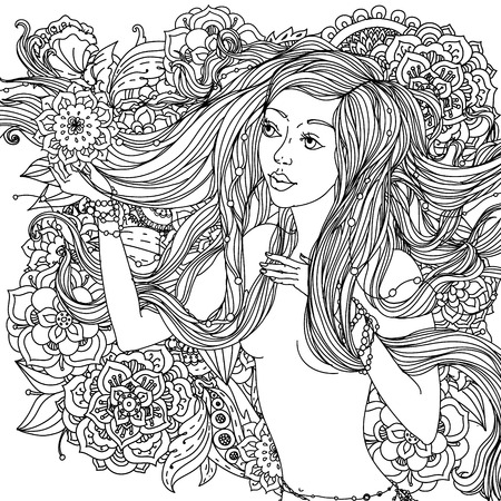 adult mermaid: Beautiful fashion woman with abstract hair and  flowers  in the image of a mermaid and  could be used  for coloring book.  Black and white in zentangle style.