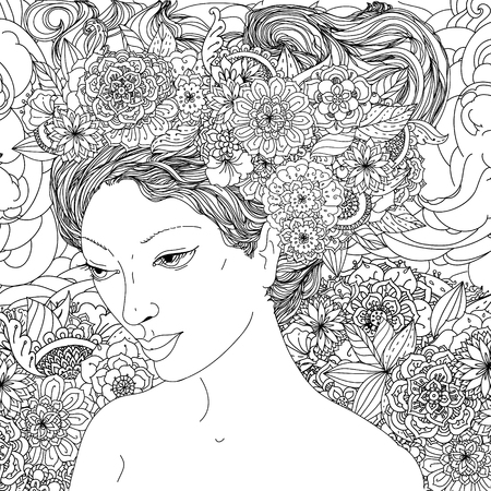 asian woman: Beautiful fashion female or androgyne face with abstract hair and floral design elements could be used  for coloring book.  Black and white in zentangle style.
