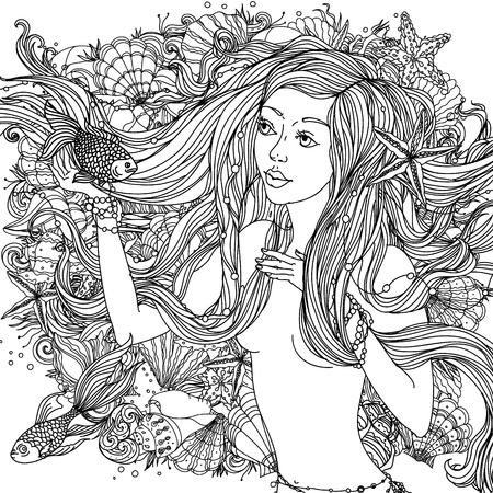 Belle femme de la mode avec des cheveux abstrait et des éléments de conception de coquillages, étoiles de mer, les algues dans l'image d'une sirène et pourrait être utilisé pour le livre de coloriage. Noir et blanc dans le style de zentangle.