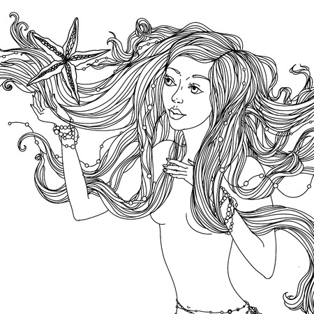 adult mermaid: Beautiful fashion woman with abstract hair   in the image of a mermaid could be used  for coloring book.  Black and white in zentangle style.