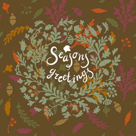 seasons greetings: Vignette di foglie colorate, � comprensivo di testo stagioni saluti illustrazione vettoriale