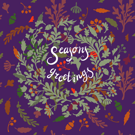 includes: Vignette of colourful leaves, includes text Seasons greetings Vector illustration