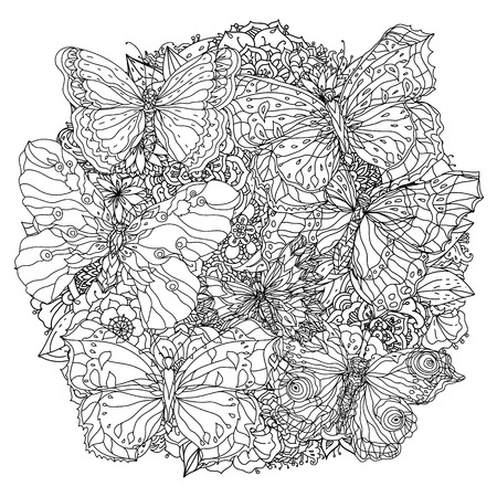 orient floral black and white  ornament with openwork butterflies could be use  for coloring book  in zentangle style.