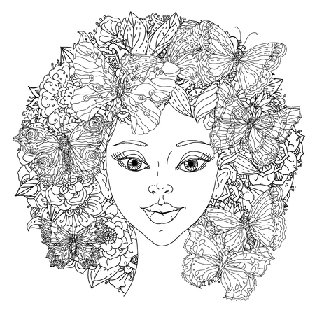 Beautiful fashion orientdl women with abstract hair and floral design elements and openwork butterflies, could be used  for coloring book.  Black and white in zentangle style.